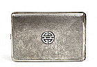 Lg Old Chinese Export Silver Cigarette Case Mk