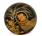 Old Japanese Lacquer Covered Bowl Rooster Bird