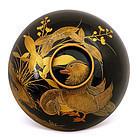 Japanese Lacquer Covered Bowl Mandarin Duck Bird