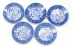 5 Old Japanese Seto Blue & White Phoenix Dish Sg