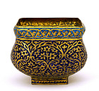 19C India Kashmir Gilt Bronze Enamel Basin