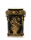 Japanese Nippon Vase Black Ground Gold Marked