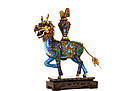 Old Chinese Filigree Silver Enamel Qilin with Stand