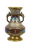 Old Japanese Cloisonne Enamel Champleve Vase