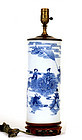 Old Chinese Blue & White Lamp Vase Figurine