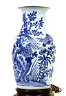 19C Chinese Blue & White Porcelain Lamp Vase