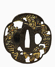 19C Japanese Mixed Metal Open Work Tsuba Samurai