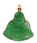 Chinese Apple Green Jade Buddha 18K Gold Pendant