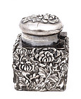 Old Japanese Silver Inkwell Ink Well Chrysanthemum