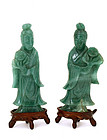 2 Old Chinese Jade Type Stone Carving Lady Figurine