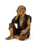 Japanese Sumida Gawa Old Man Figure Signed Koko Koji