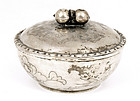 Old Chinese Silver Covered Bowl Fruit Finial Mk