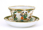19C Chinese Famille Verte Porcelain Cup & Saucer