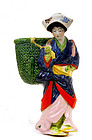 Old Japanese Banko Ware Girl Lady Figure Wall Vase Mk