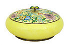 Old Korean Silver Cloisonne Round Box Butterfly MK