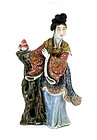 Old Chinese Famille Rose Lady Figurine Figure