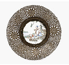 Old Chinese Silver Plated Marble Painting Plate