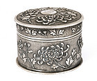 Old Chinese Silver Round Box Chrysanthemum MK