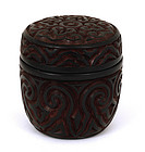 Old Chinese Dark Cinnabar Lacquer Round Box
