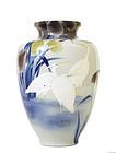 Lg Old Japanese Studio Moriage Crane Vase SG