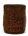 19C Chinese Bamboo Figurine Figure Vase Humidor