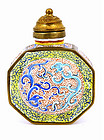 Old Chinese Enamel Double Dragon Snuff Bottle MK
