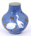 Old Japanese Fukagawa Vase Crane