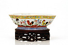 Chinese Export Rose Medallion Rooster Bowl