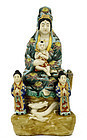 Old Japanese Kutani Seated Kannon Buddha Kid
