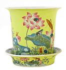 Old Chinese Famille Rose Jaune Pot Planter Lotus Marked