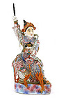 Old Chinese Famille Rose General Warrior Figure