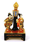 Old Japanese Satsuma Geisha  Lamp Figurine