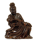 Old Chinese Goldstone Carved Quan Yin Figurine