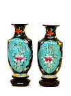 2 Old Chinese Famille Rose Verte Flower Vase