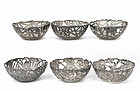 6 Old Japanese Silver Bowl Bamboo Iris Flower Mk