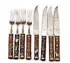 8 Japanese Sword Gilt Gold Kozuka Knife & Fork Sg