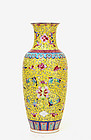 Old Chinese Famille Rose Yellow Ground Vase