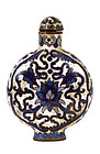 Old Chinese Cloisonne Blue & White Snuff Bottle MK