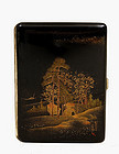 Old Japanese Makie Lacquer Cigarette Case w Scene