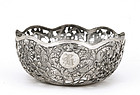 Old Chinese Silver Bowl  Flower MK
