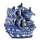 Japanese Blue & White Kutani Treasure Boat Ship Mk