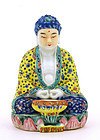 Old Chinese Famille Rose Seated Buddha Figurine MK