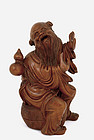 Old Chinese Wood Carved Figurine Sage