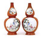 2 Old Chinese Famille Rose Coral Red Gourd Vase