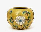 Chinese Sancai Famille Rose Relief Jar Vase