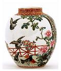 Old Chinese Famille Rose Vase Bird MK