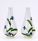 2 Old Japanese Studio Flower Vase Signed Kanzan