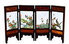 19C Chinese Famille Rose Plaque Table Screen Sg