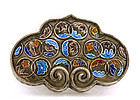 Old Chinese Silver Enamel Pendant Brooch Pin