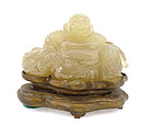Old Chinese Agate Happy Buddha Figurine